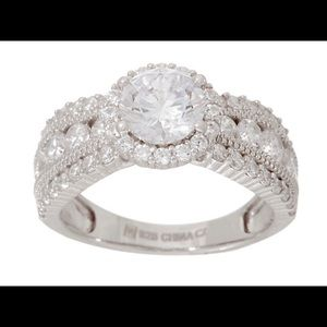 Diamonique Halo Design Graduated Band Ring, Round